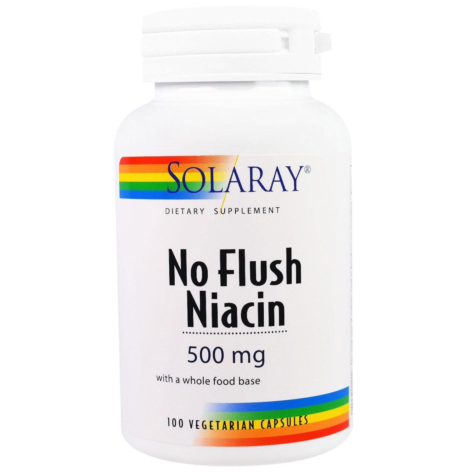 Solaray, Ниацин, не вызывающий покраснения кожи, 500 мг, 100 вегетарианских капсул
