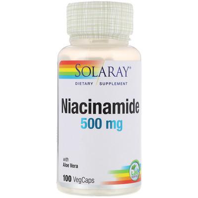 Купить Никотинамид, 500 мг, 100 капсул с оболочкой из ингредиентов растительного происхождения