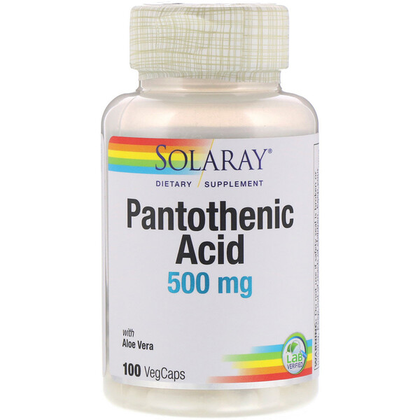 Solaray, Pantothenic Acid , 500 mg, 100 VegCaps