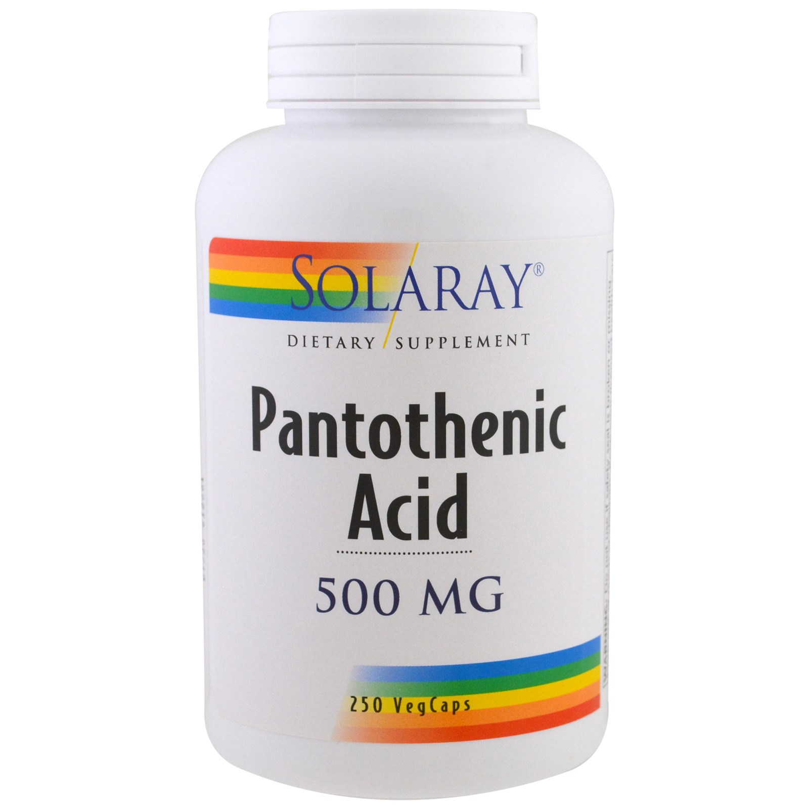 Solaray, Пантотеновая кислота 500 мг, 250 вегетарианских капсул