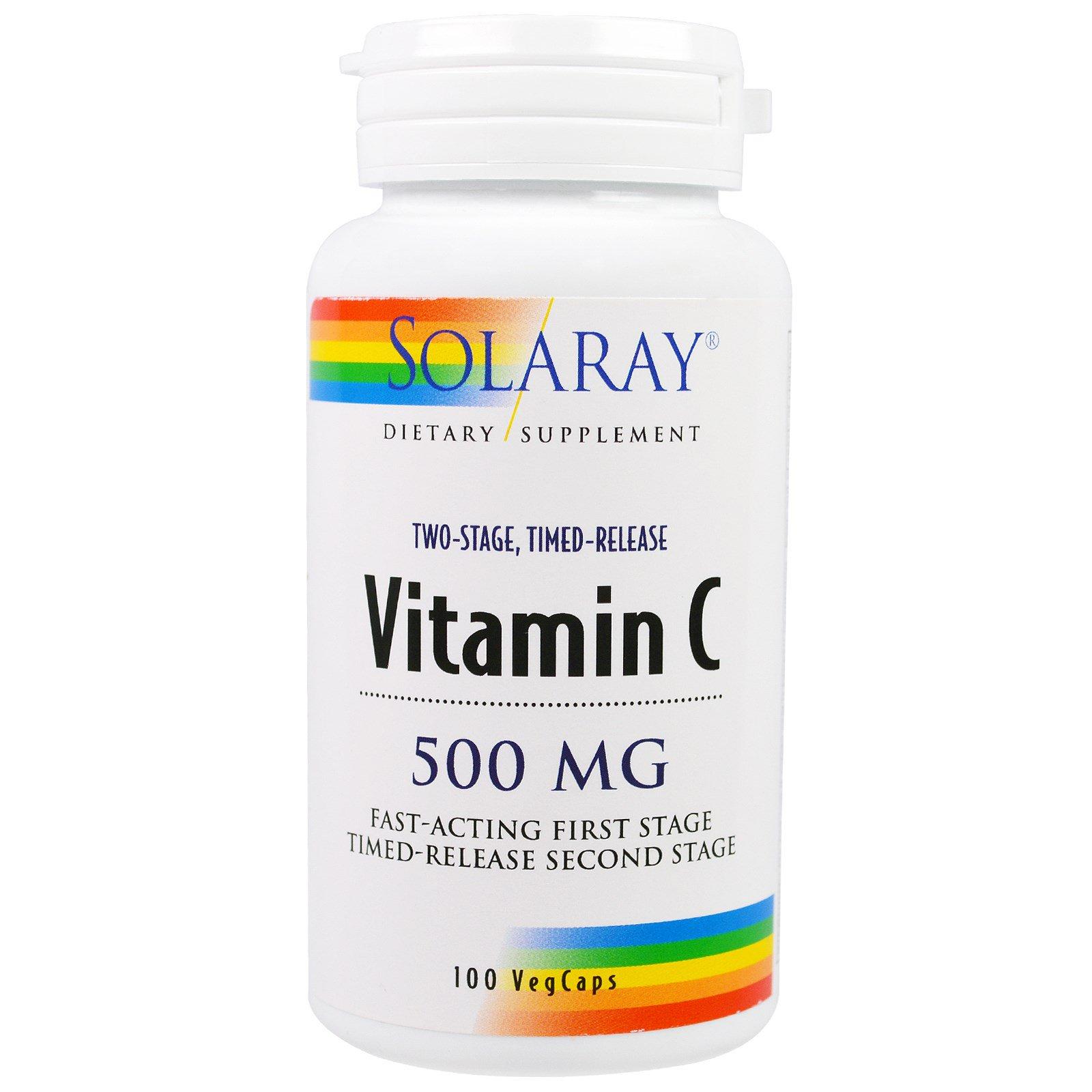 Solaray, Витамин С, 500 мг, 100 вегетарианских капсул