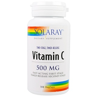Solaray, Vitamin C, Two-Stage Timed-Release, 500 mg, 100 VegCaps