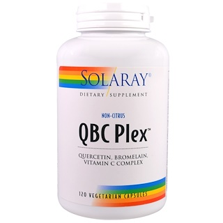 Solaray, QBC プレックス - ケルセチン、ブロメライン、ビタミン C コンプレックス、ベジキャップ使用 120 錠