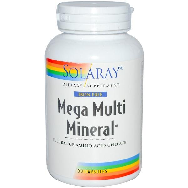 Solaray, Mega Multi Mineral, Iron Free, 100 Capsules (Discontinued Item)