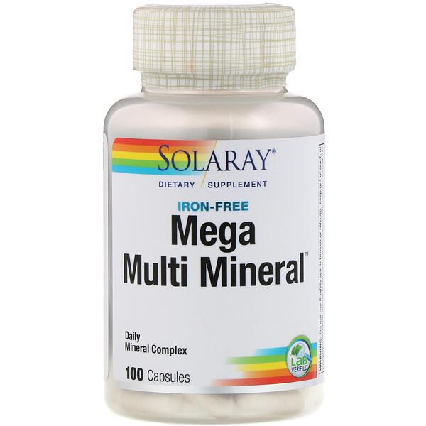 Solaray, Mega Multi Mineral, מולטי-מינרל ללא ברזל, 100 כמוסות