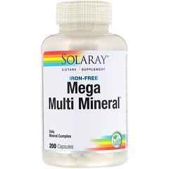 Solaray, Mega Multi Mineral, Iron Free, 200 Capsules