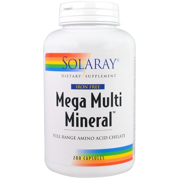 Solaray, 超多礦物,無鐵,200粒膠囊