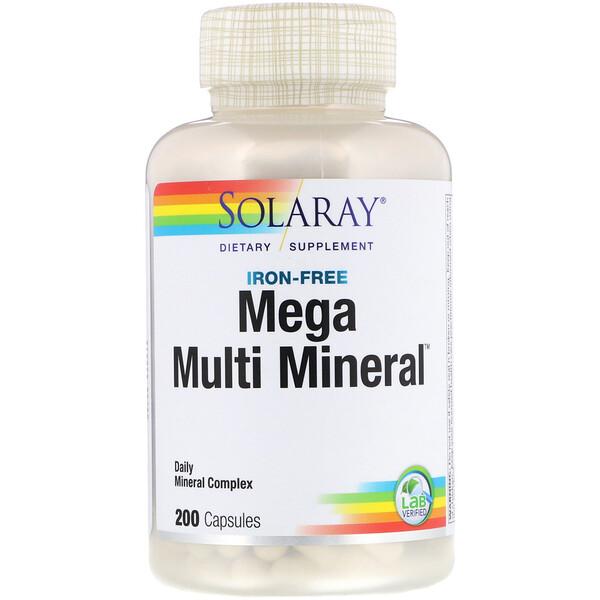 Mega Multi Mineral، خالي من الحديد، 200 كبسولة