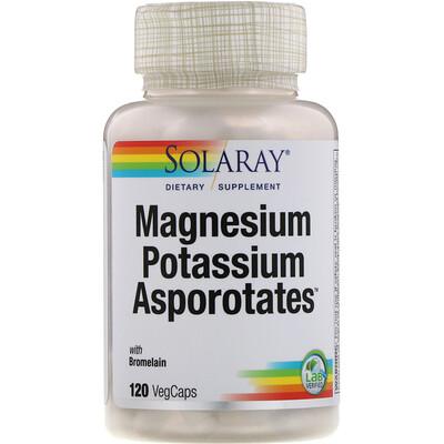 Solaray Magnesium Potassium Asporotates, аспартат магния и калия, 120растительных капсул