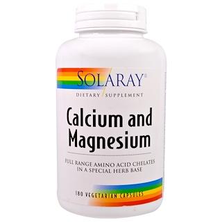 Solaray, Calcium and Magnesium, 180 Veggie Caps