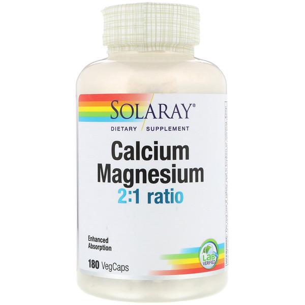 Solaray, 2:1 比例的鈣與鎂,180 粒素食膠囊