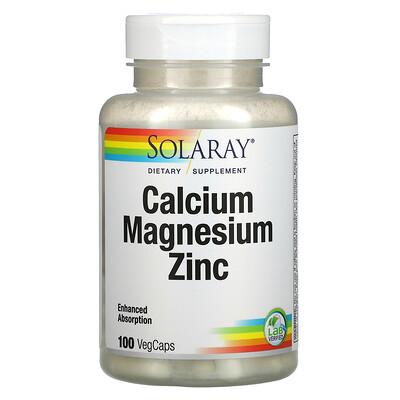 Solaray Calcium Magnesium Zinc, 100 VegCaps