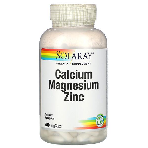 Solaray, סידן מגנזיום אבץ 250 כמוסות צמחיות