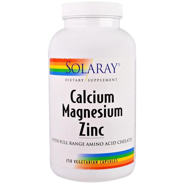 Solaray, Calcium, Magnesium, Zinc, 250 Veggie Caps
