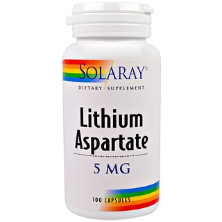 Solaray, Lithium Aspartate, 5 mg, 100 Capsules