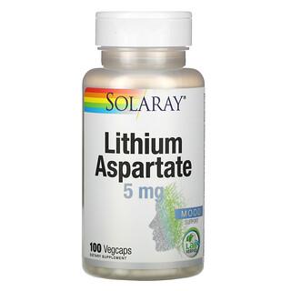 Solaray, Lithium Aspartate, 5 mg, 100 Vegcaps