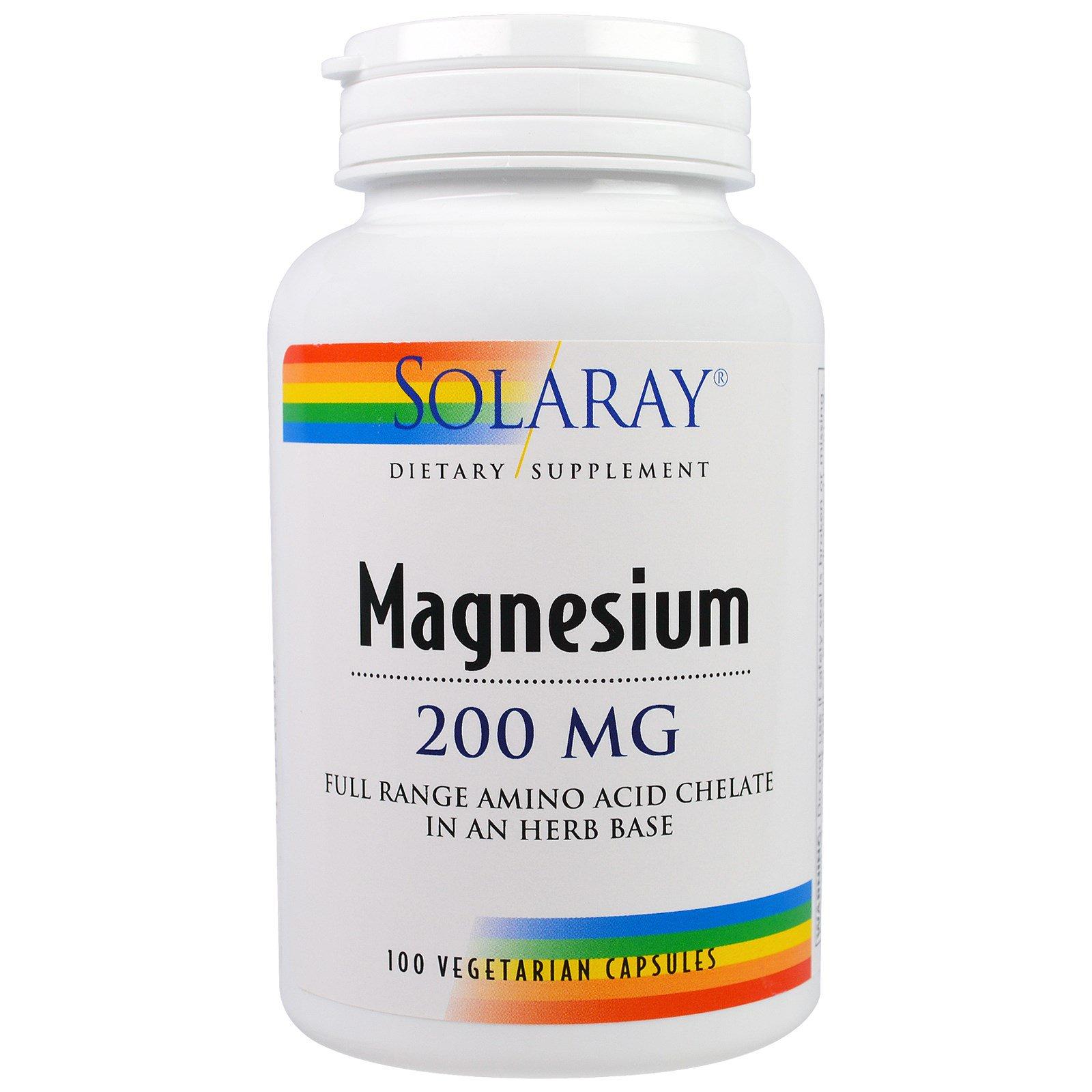 Solaray, Магний, 200 мг, 100 вегетарианских капсул