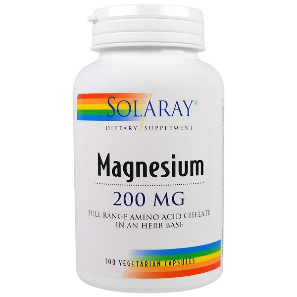 Solaray, Magnesium, 200 mg, 100 Veggie Caps