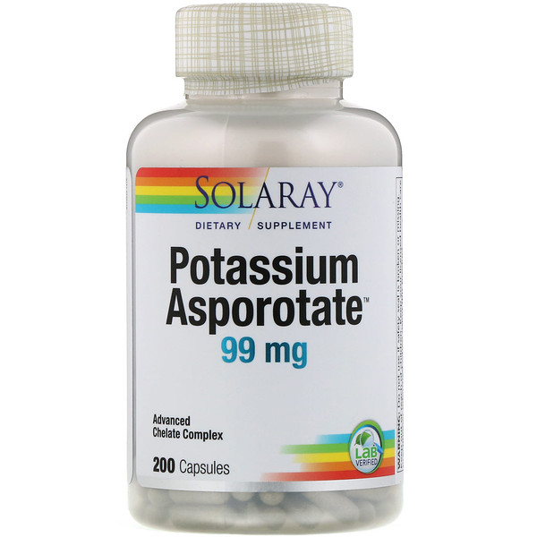 Solaray, Potassium Asporotate, 99 mg, 200 Capsules (Discontinued Item)
