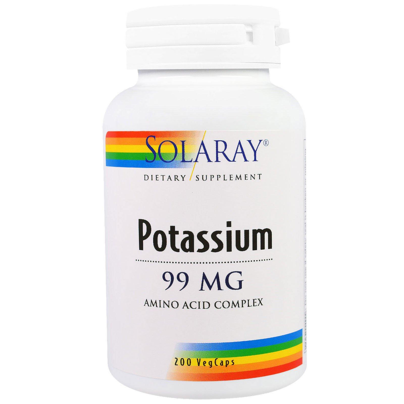 Solaray, Калий, 99 мг, 200 вегетарианских капсул