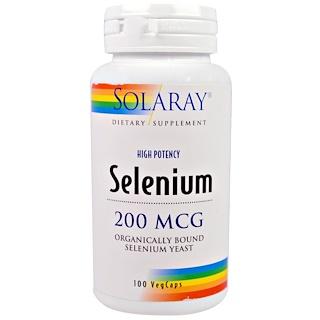 Solaray, Selen, 200 mcg, 100 Veggie-Caps