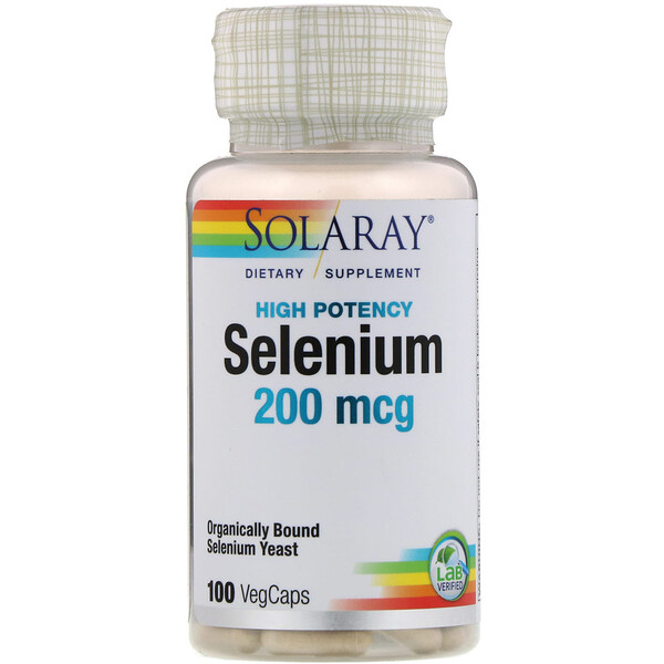 Solaray, Selenium, High Potency , 200 mcg, 100 VegCaps