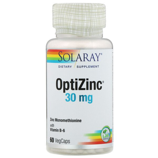 Solaray, OptiZinc, 30 mg, 60 VegCaps