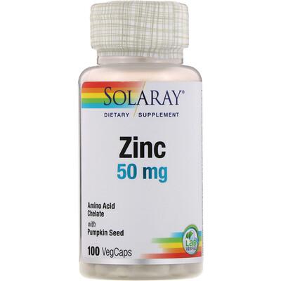 Solaray цинк, 50 мг, 100 растительных капсул