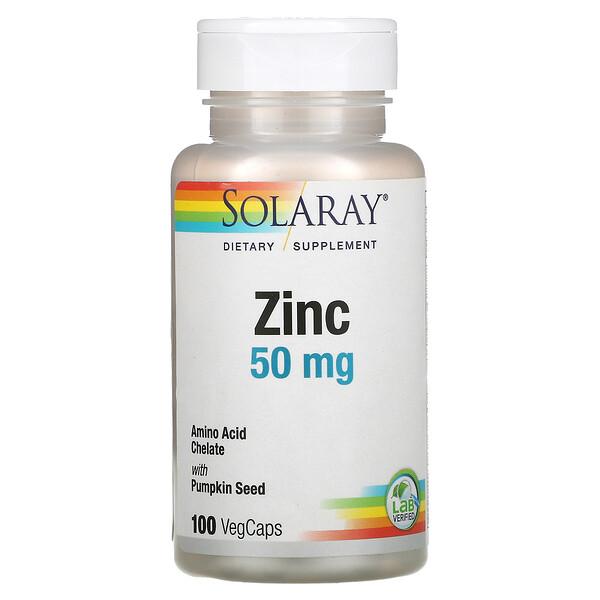 Solaray, Zinc, 50 mg, 100 VegCaps