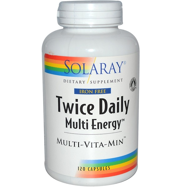 Solaray, Twice Daily Multi Energy, Iron Free, 120 Capsules (Discontinued Item)