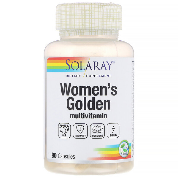 Solaray, Multivitamínico Women's Golden, 90 Cápsulas
