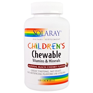 Solaray, Children's Chewable Vitamins and Minerals, Natural Black Cherry Flavor, 120 Chewables