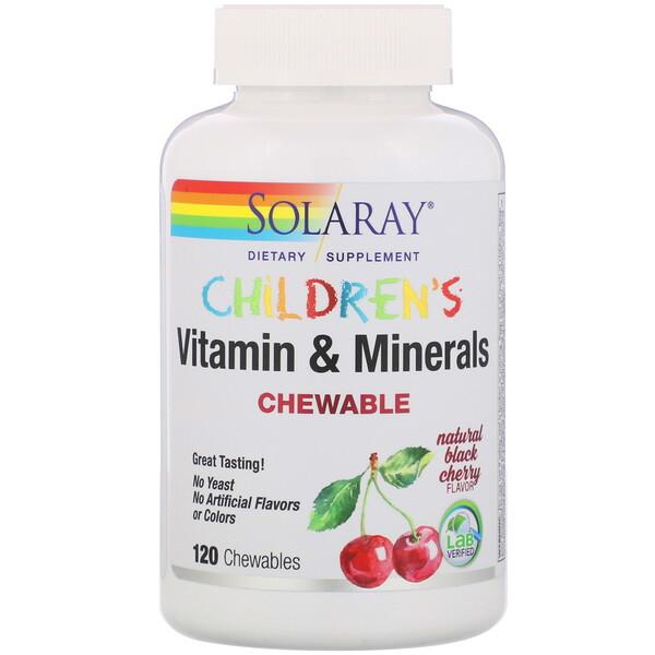 Solaray, Детские жевательные витамины и минералы, натуральный вкус черной вишни, 120жевательных таблеток