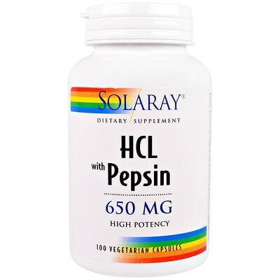 Купить HCL с пепсином, 650 мг, 100 вегетарианских капсул