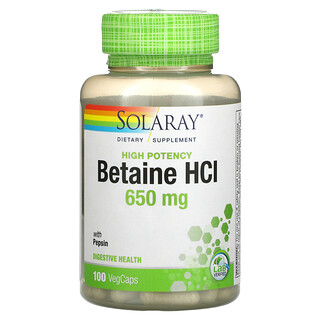 Solaray, High Potency Betaine HCL with Pepsin, 650 mg, 100 VegCaps