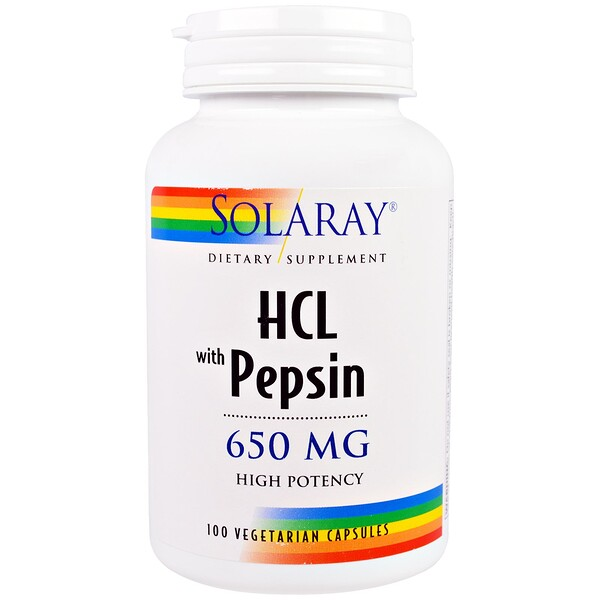 HCL with Pepsin, 650 mg, 100 Vegetarian Capsules