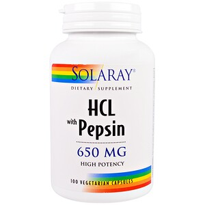 Соларай, HCL with Pepsin, 650 mg, 100 Vegetarian Capsules отзывы покупателей