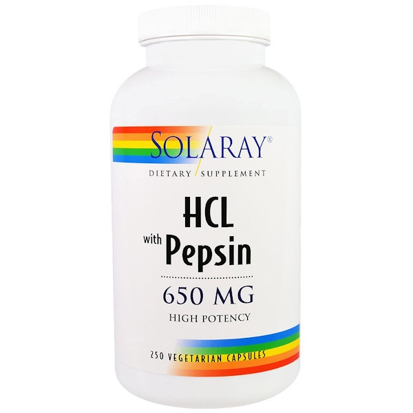 HCL with Pepsin, 650 mg, 250 Vegetarian Capsules