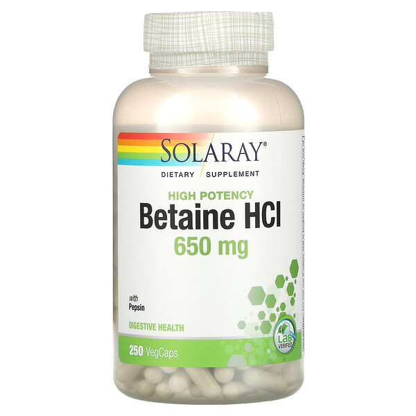 High Potency Betaine HCl with Pepsin, 650 mg, 250 VegCaps