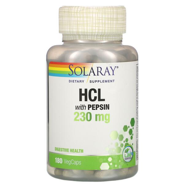 ペプシン配合HCL、230mg、ベジカプセル180粒
