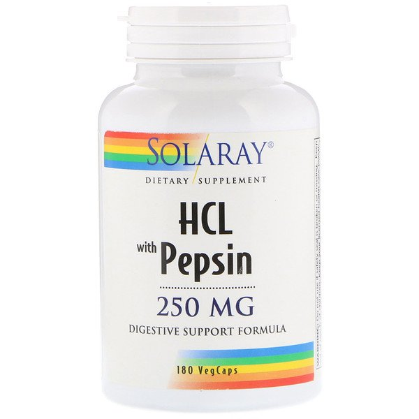 Solaray, HCL with Pepsin, 250 mg, 180 Capsules
