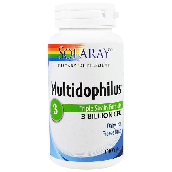 Solaray, Multidophilus, Triple Strain Formula, 100 Veggie Caps (Discontinued Item)