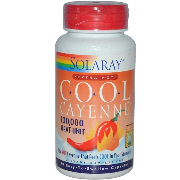 Solaray, Extra Hot Cool Cayenne, 100,000 Heat-Unit, 90 Capsules (Discontinued Item)