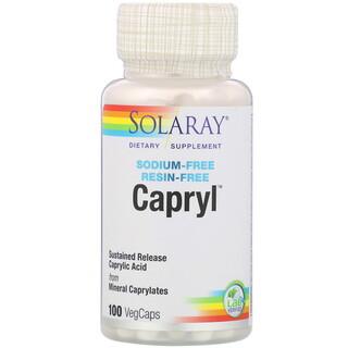 Solaray, Capryl(カプリル)、塩分フリー、樹脂フリー、ベジカプセル100粒