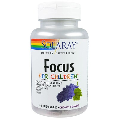 Купить Solaray Focus, для детей, вкус винограда, 60 жевательных таблеток