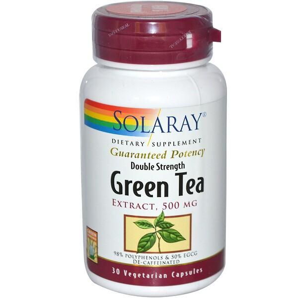 Solaray, Double Strength Green Tea Extract, Decaffeinated, 500 mg, 30 Veggie Caps (Discontinued Item)