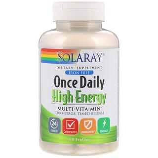 Solaray, Multivitamínico de una toma al día para tener mucha energía, Multi-Vita-Min, sin hierro, 120 comprimidos