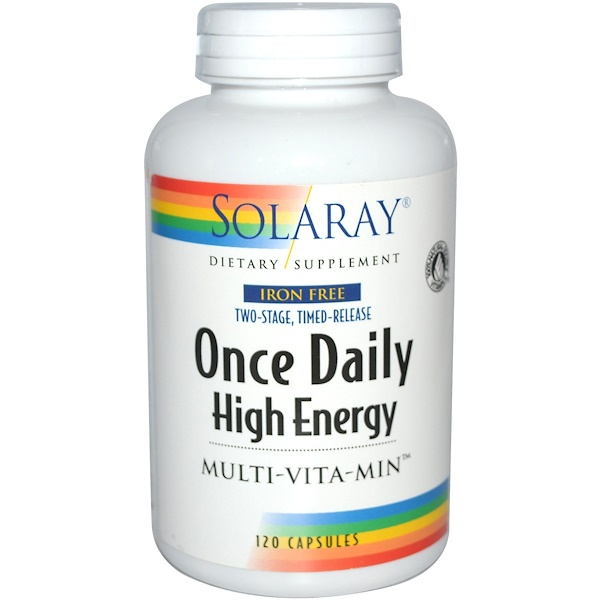 Solaray, Once Daily High Energy, Multi-Vita-Min, Iron Free, 120 Capsules (Discontinued Item)