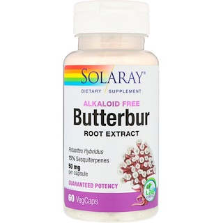 Solaray, Butterbur Root Extract, 50 mg, 60 VegCaps