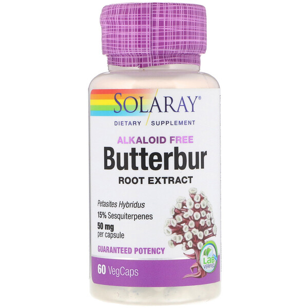 Butterbur Root Extract, 50 mg, 60 VegCaps